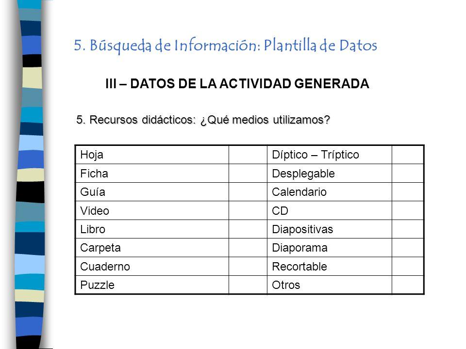 5. Búsqueda de Información: Plantilla de Datos III – DATOS DE LA ACTIVIDAD GENERADA HojaDíptico – Tríptico FichaDesplegable GuíaCalendario VideoCD Lib