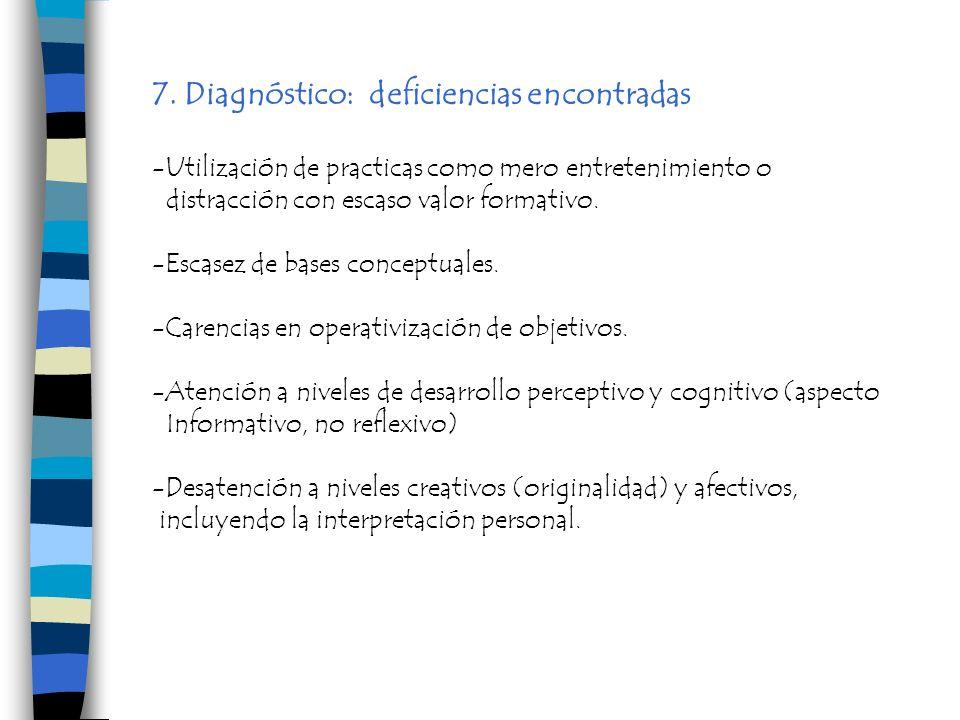 7. Diagnóstico: deficiencias encontradas -Utilización de practicas como mero entretenimiento o distracción con escaso valor formativo. -Escasez de bas