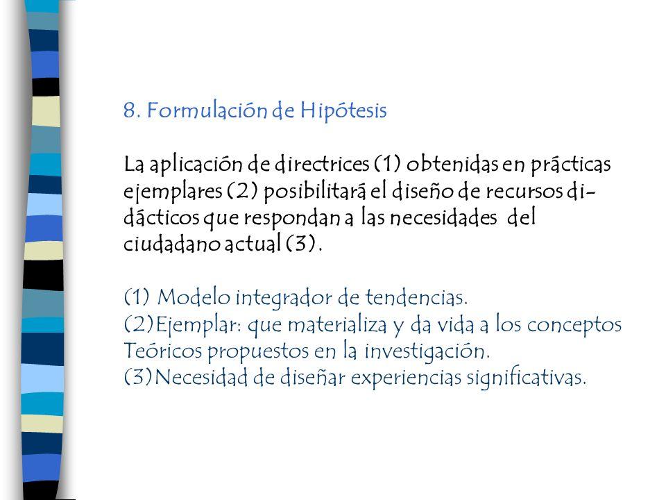 8. Formulación de Hipótesis La aplicación de directrices (1) obtenidas en prácticas ejemplares (2) posibilitará el diseño de recursos di- dácticos que