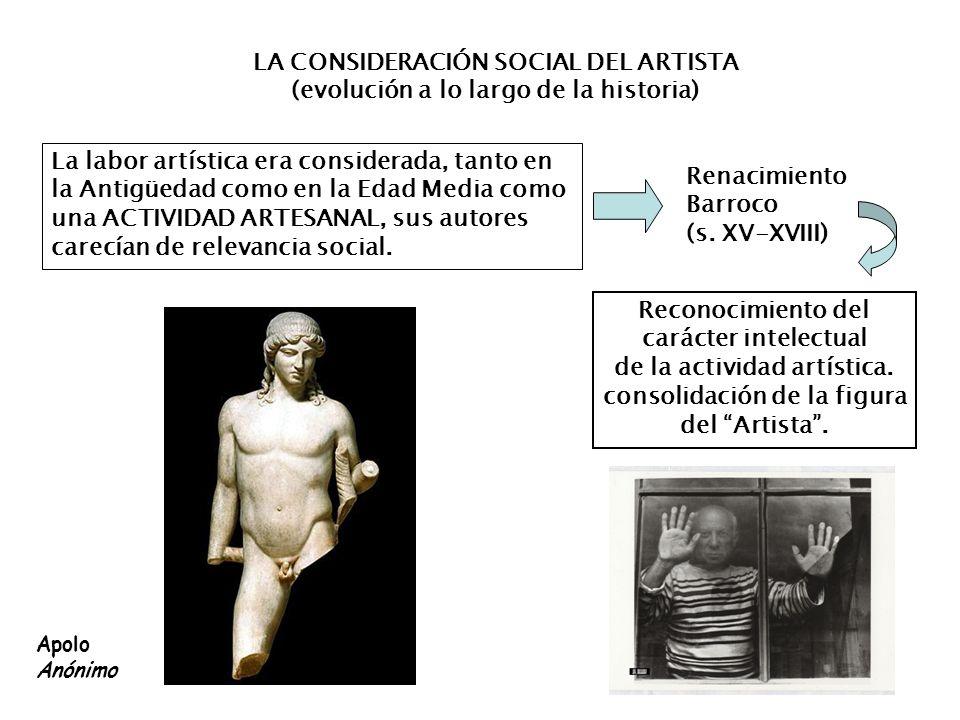 LA CONSIDERACIÓN SOCIAL DEL ARTISTA (evolución a lo largo de la historia) La labor artística era considerada, tanto en la Antigüedad como en la Edad M