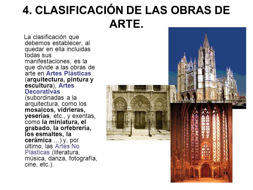 4. CLASIFICACIÓN DE LAS OBRAS DE ARTE. La clasificación que debemos establecer, al quedar en ella incluidas todas sus manifestaciones, es la que divid