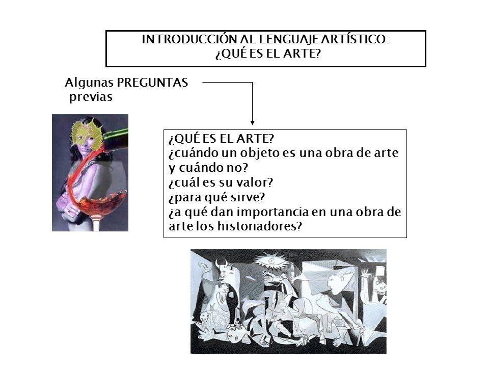 INTRODUCCIÓN AL LENGUAJE ARTÍSTICO: ¿QUÉ ES EL ARTE? ¿cuándo un objeto es una obra de arte y cuándo no? ¿cuál es su valor? ¿para qué sirve? ¿a qué dan