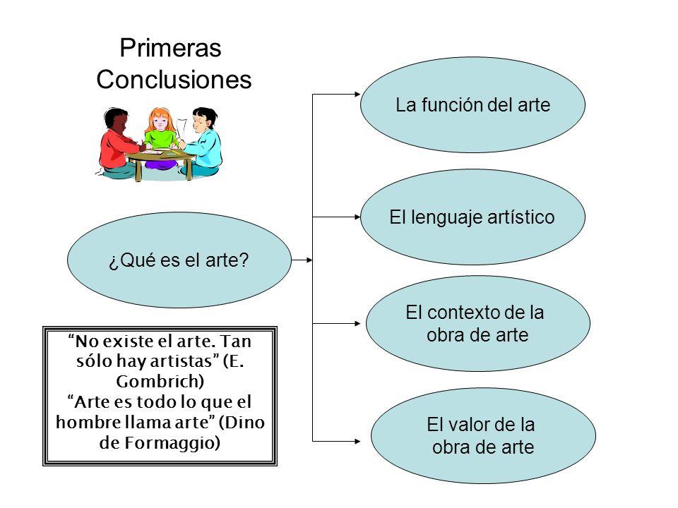 Primeras Conclusiones ¿Qué es el arte? La función del arte El lenguaje artístico El contexto de la obra de arte El valor de la obra de arte No existe