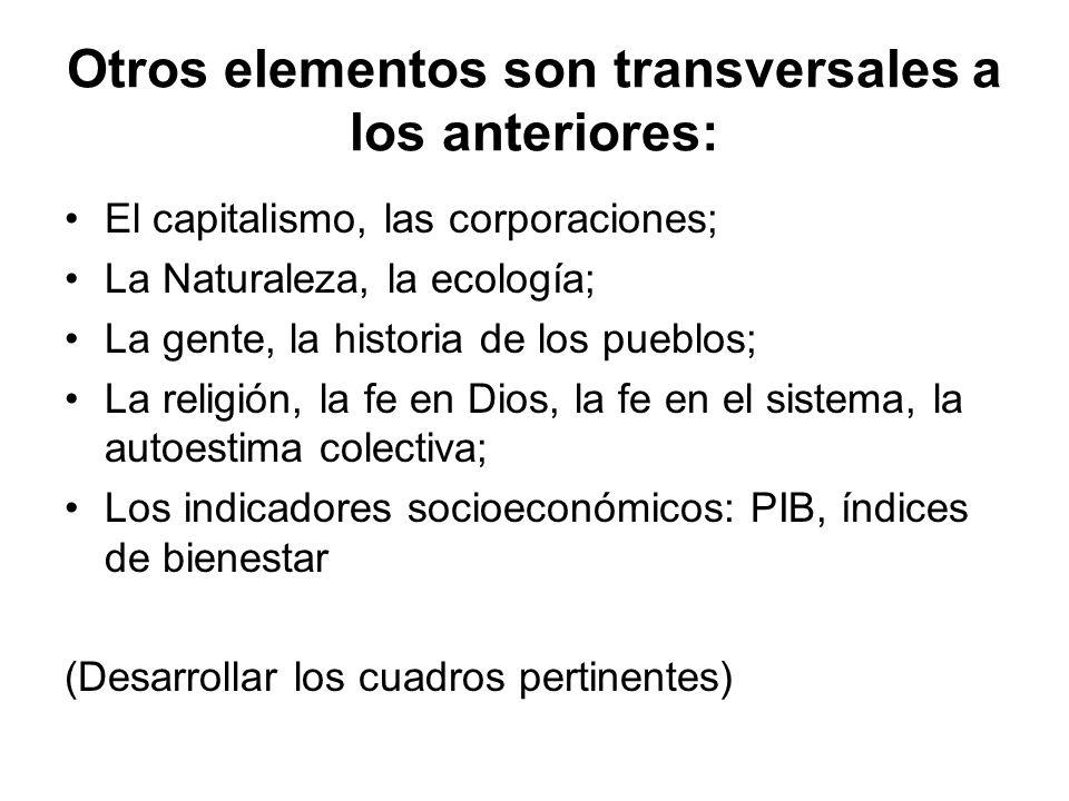 Otros elementos son transversales a los anteriores: El capitalismo, las corporaciones; La Naturaleza, la ecología; La gente, la historia de los pueblo