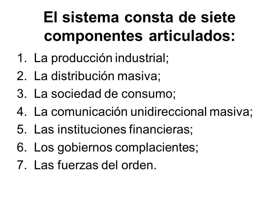 El sistema consta de siete componentes articulados: 1. La producción industrial; 2. La distribución masiva; 3. La sociedad de consumo; 4. La comunicac