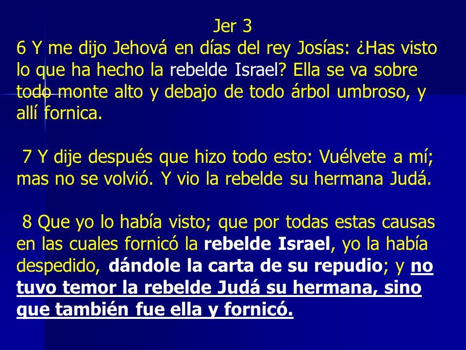 Jer 3 6 Y me dijo Jehová en días del rey Josías: ¿Has visto lo que ha hecho la rebelde Israel? Ella se va sobre todo monte alto y debajo de todo árbol