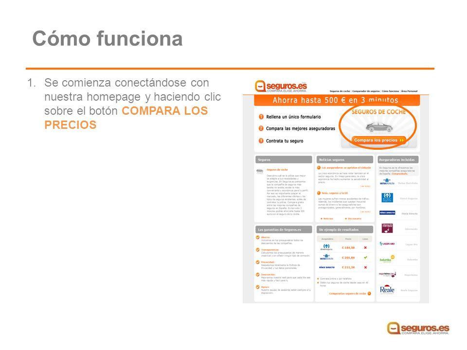 1.Se comienza conectándose con nuestra homepage y haciendo clic sobre el botón COMPARA LOS PRECIOS Cómo funciona