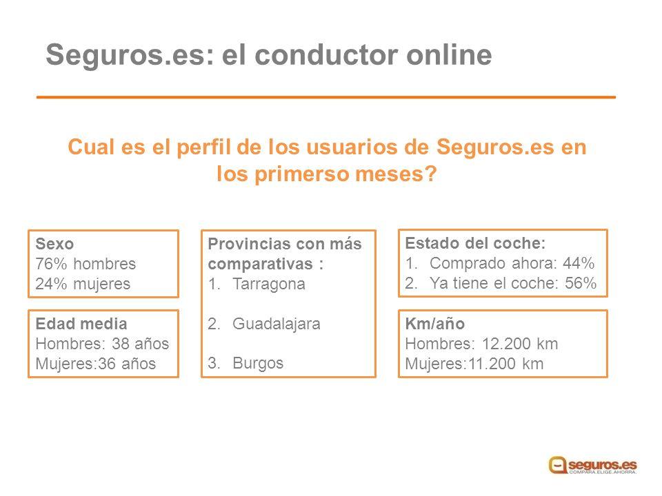 Cual es el perfil de los usuarios de Seguros.es en los primerso meses.