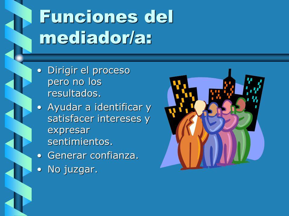 Funciones del mediador/a: Dirigir el proceso pero no los resultados.Dirigir el proceso pero no los resultados. Ayudar a identificar y satisfacer inter