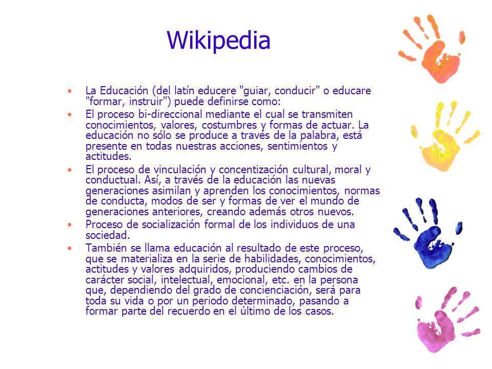 Wikipedia La Educación (del latín educere