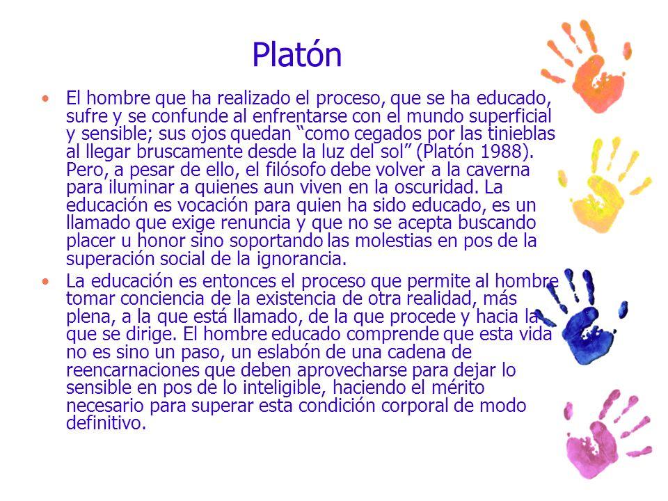 Platón El hombre que ha realizado el proceso, que se ha educado, sufre y se confunde al enfrentarse con el mundo superficial y sensible; sus ojos qued
