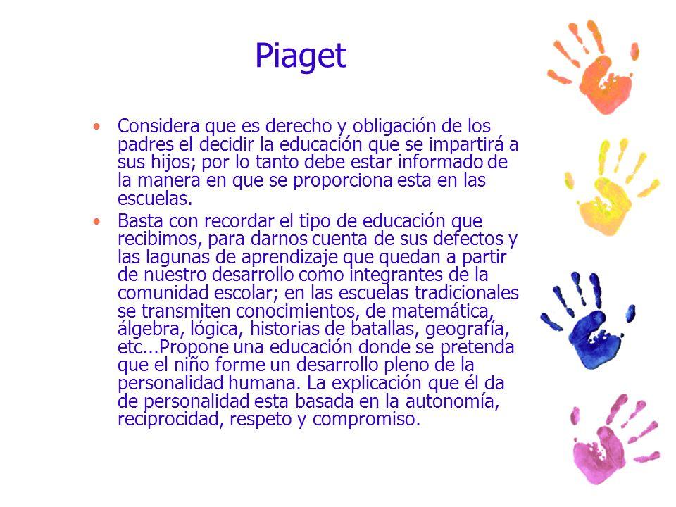 Piaget Considera que es derecho y obligación de los padres el decidir la educación que se impartirá a sus hijos; por lo tanto debe estar informado de
