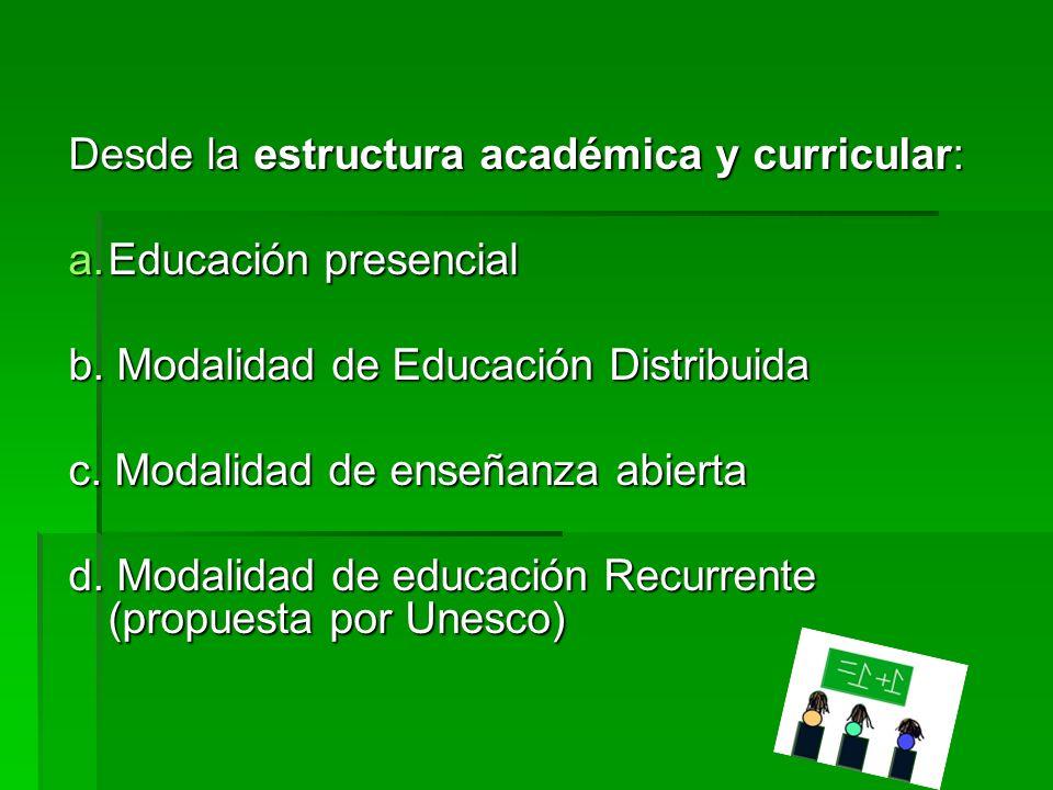 Desde el sujeto a quien va orientada existe: a.Educación Escolar b. La educación de Adultos. c. Educación Especial