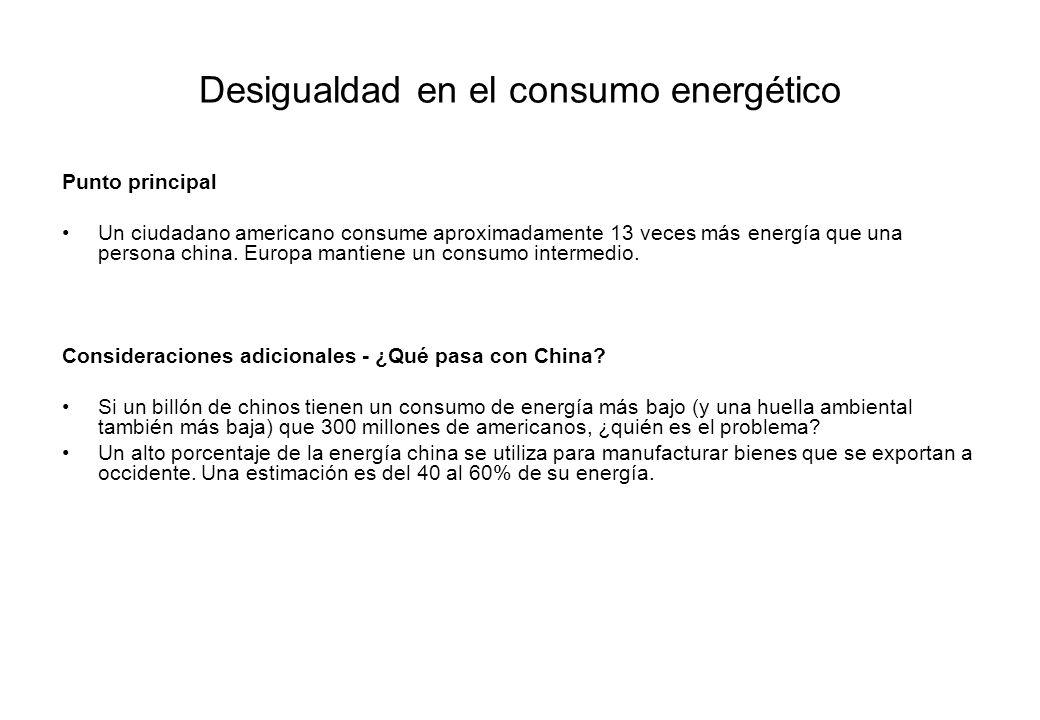 Desigualdad en el consumo energético Punto principal Un ciudadano americano consume aproximadamente 13 veces más energía que una persona china. Europa