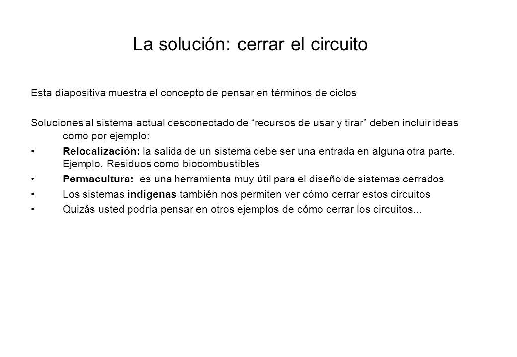 La solución: cerrar el circuito Esta diapositiva muestra el concepto de pensar en términos de ciclos Soluciones al sistema actual desconectado de recu