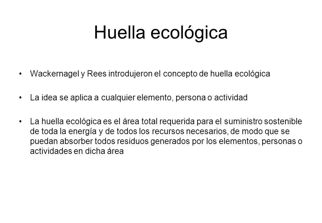 Wackernagel y Rees introdujeron el concepto de huella ecológica La idea se aplica a cualquier elemento, persona o actividad La huella ecológica es el