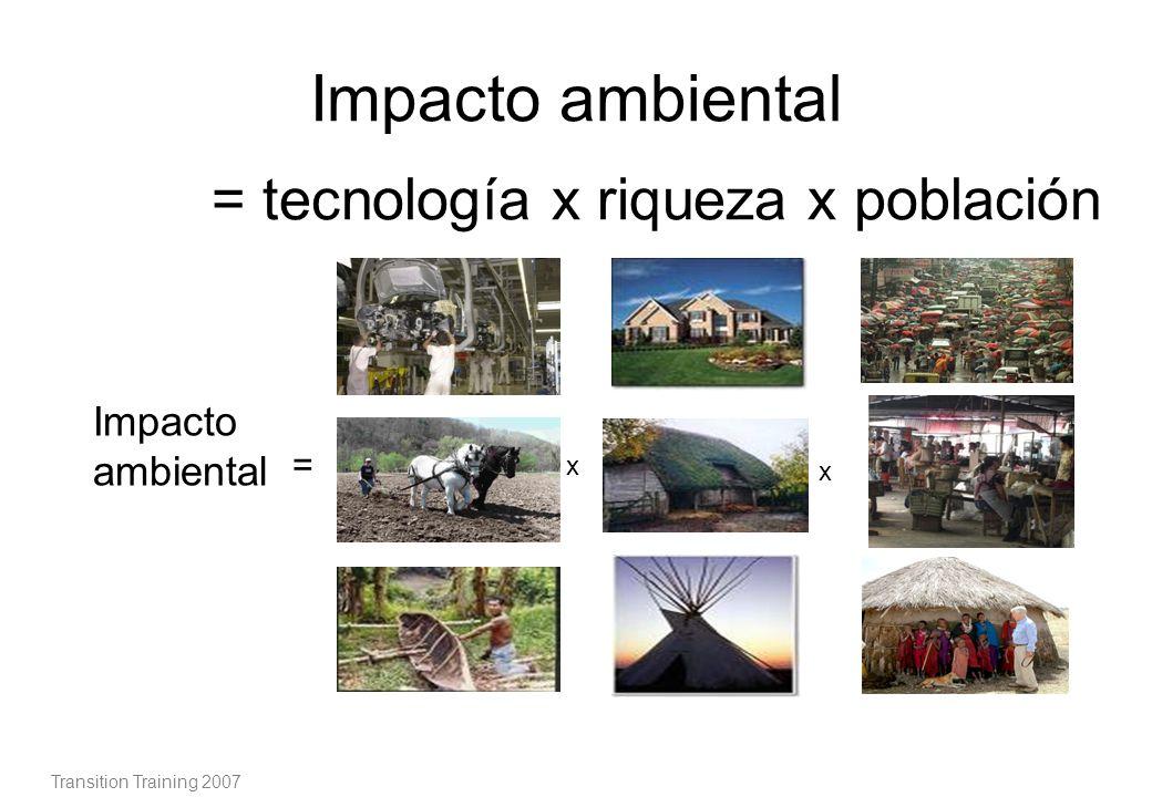 El impacto ambiental es producto de tres elementos: Niveles más altos de tecnología significan un nivel alto de complejidad que requiere alto nivel en infraestructuras.