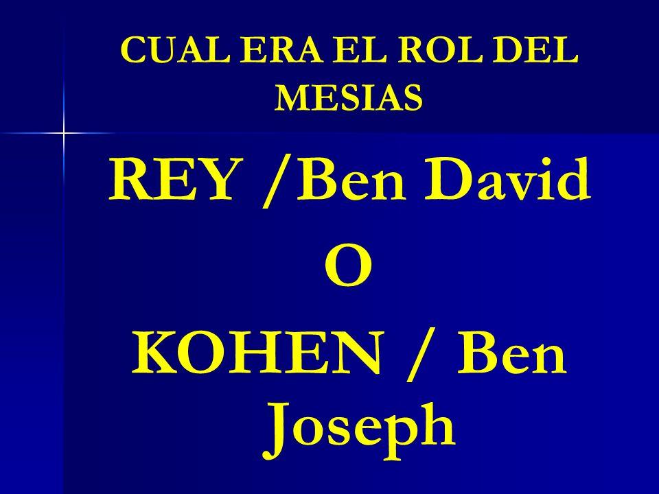 CUAL ERA EL ROL DEL MESIAS REY /Ben David O KOHEN / Ben Joseph