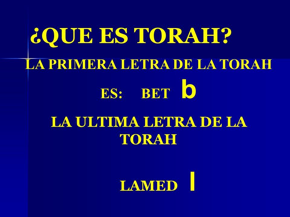 ¿QUE ES TORAH? LA PRIMERA LETRA DE LA TORAH ES: BET b LA ULTIMA LETRA DE LA TORAH LAMED l