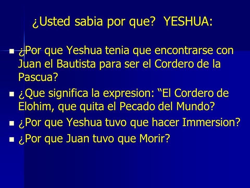 ¿ Usted sabia por que? YESHUA: ¿ Por que Yeshua tenia que encontrarse con Juan el Bautista para ser el Cordero de la Pascua? ¿ Que significa la expres