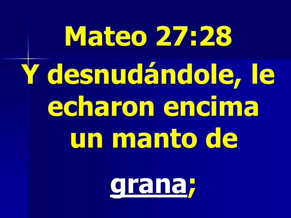 Mateo 27:28 Y desnudándole, le echaron encima un manto de grana;