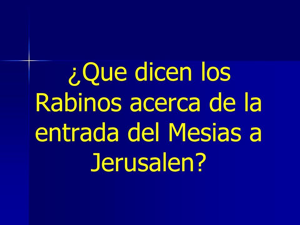 ¿ Que dicen los Rabinos acerca de la entrada del Mesias a Jerusalen?