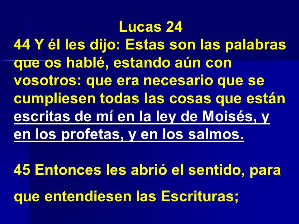 Lucas 24 44 Y él les dijo: Estas son las palabras que os hablé, estando aún con vosotros: que era necesario que se cumpliesen todas las cosas que está