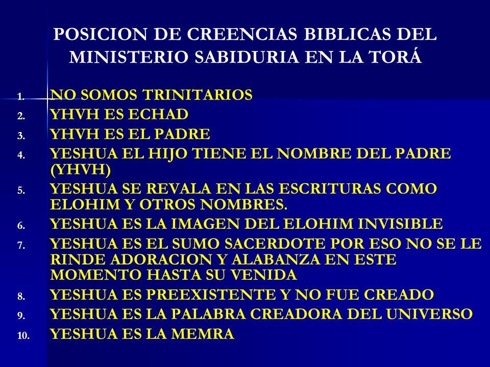POSICION DE CREENCIAS BIBLICAS DEL MINISTERIO SABIDURIA EN LA TORÁ 1. 1. NO SOMOS TRINITARIOS 2. 2. YHVH ES ECHAD 3. 3. YHVH ES EL PADRE 4. 4. YESHUA