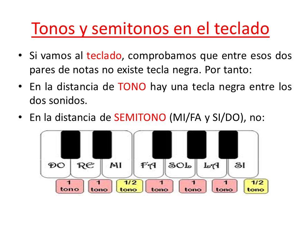 Tonos y semitonos en el teclado Si vamos al teclado, comprobamos que entre esos dos pares de notas no existe tecla negra. Por tanto: En la distancia d