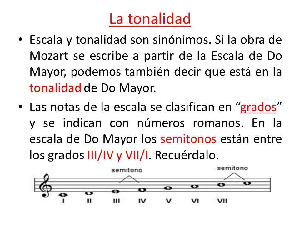 La tonalidad Escala y tonalidad son sinónimos. Si la obra de Mozart se escribe a partir de la Escala de Do Mayor, podemos también decir que está en la