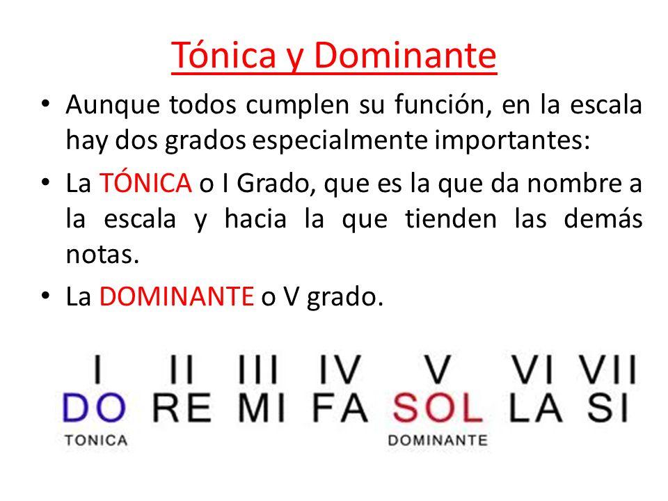 Tónica y Dominante Aunque todos cumplen su función, en la escala hay dos grados especialmente importantes: La TÓNICA o I Grado, que es la que da nombr