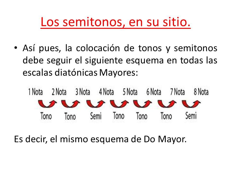 Los semitonos, en su sitio. Así pues, la colocación de tonos y semitonos debe seguir el siguiente esquema en todas las escalas diatónicas Mayores: Es