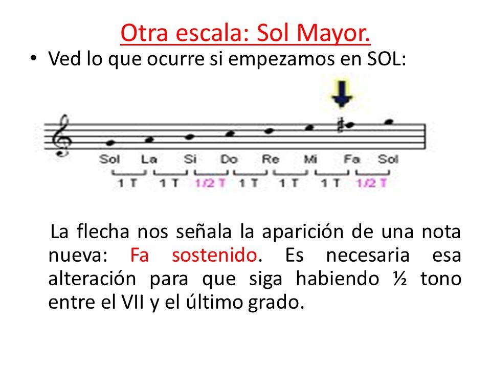Otra escala: Sol Mayor. Ved lo que ocurre si empezamos en SOL: La flecha nos señala la aparición de una nota nueva: Fa sostenido. Es necesaria esa alt