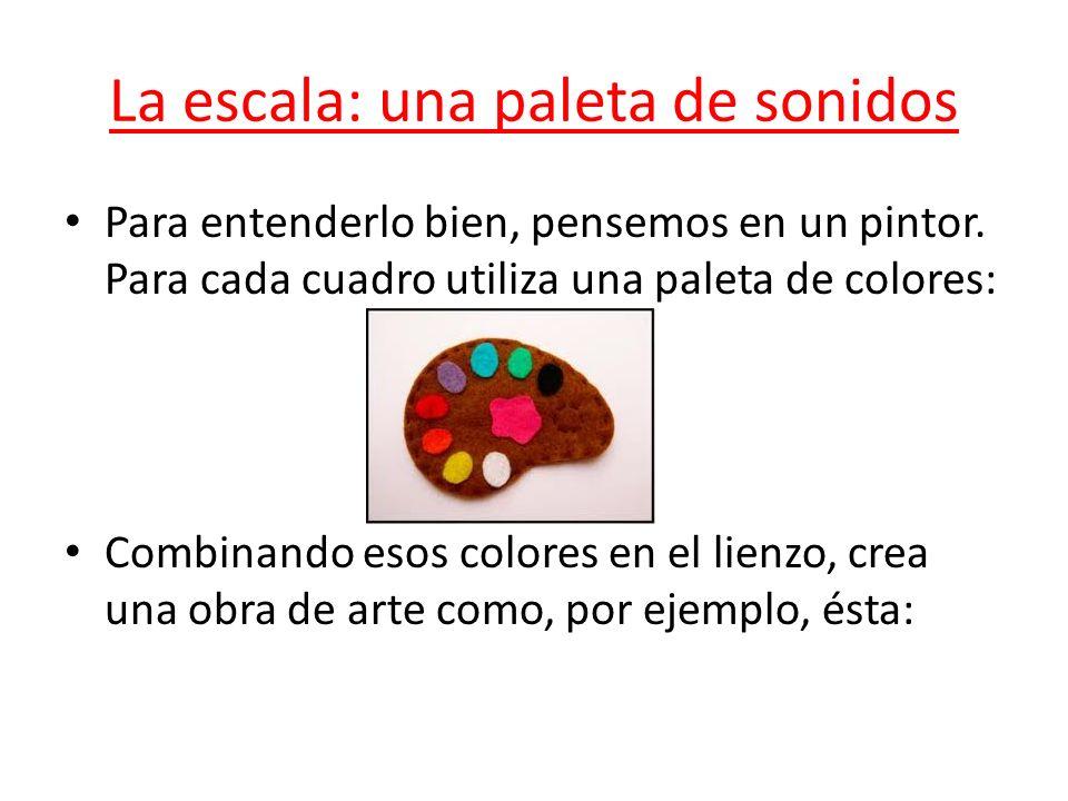 La escala: una paleta de sonidos Para entenderlo bien, pensemos en un pintor. Para cada cuadro utiliza una paleta de colores: Combinando esos colores