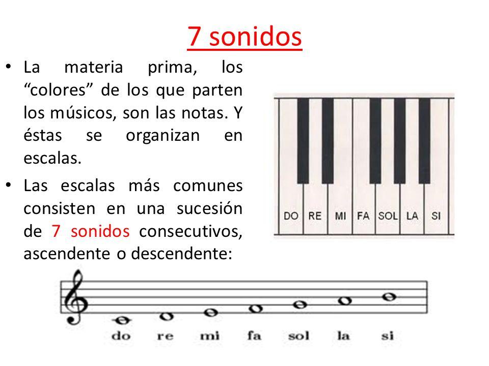 7 sonidos La materia prima, los colores de los que parten los músicos, son las notas. Y éstas se organizan en escalas. Las escalas más comunes consist