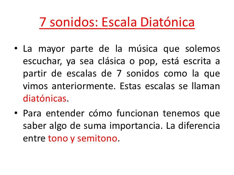 7 sonidos: Escala Diatónica La mayor parte de la música que solemos escuchar, ya sea clásica o pop, está escrita a partir de escalas de 7 sonidos como