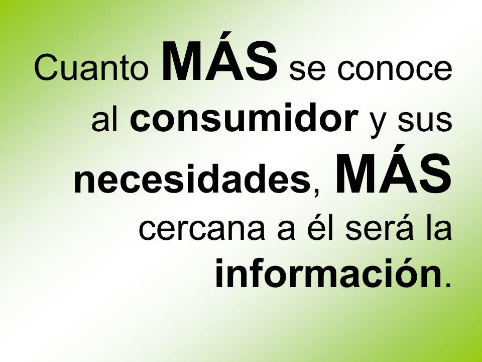 Cuanto MÁS se conoce al consumidor y sus necesidades, MÁS cercana a él será la información.