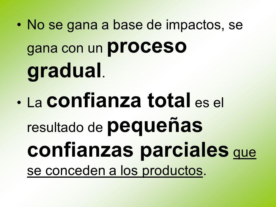 No se gana a base de impactos, se gana con un proceso gradual. La confianza total es el resultado de pequeñas confianzas parciales que se conceden a l