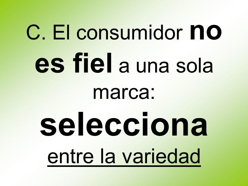 C. El consumidor no es fiel a una sola marca: selecciona entre la variedad
