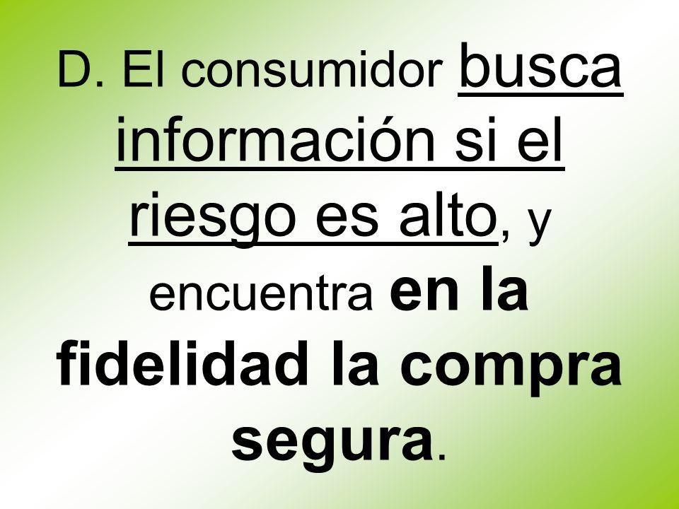 D. El consumidor busca información si el riesgo es alto, y encuentra en la fidelidad la compra segura.