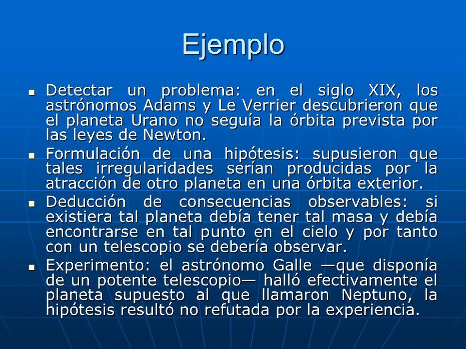 Ejemplo Detectar un problema: en el siglo XIX, los astrónomos Adams y Le Verrier descubrieron que el planeta Urano no seguía la órbita prevista por la