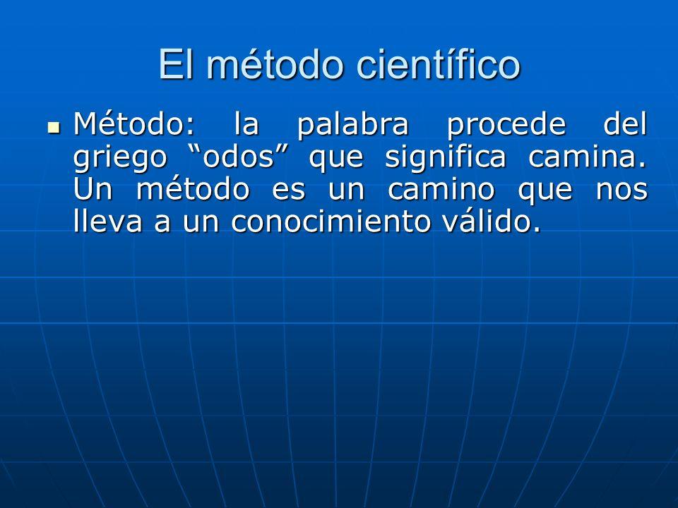 El método científico Método: la palabra procede del griego odos que significa camina. Un método es un camino que nos lleva a un conocimiento válido. M