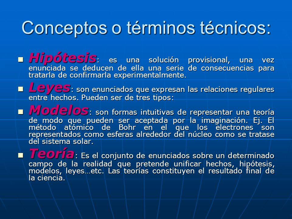 Conceptos o términos técnicos: Hipótesis : es una solución provisional, una vez enunciada se deducen de ella una serie de consecuencias para tratarla