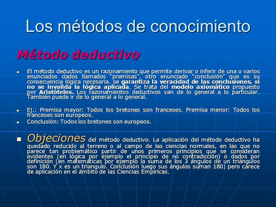 Los métodos de conocimiento Método deductivo. El método deductivo es un razonamiento que permite derivar o inferir de una o varios enunciados dados ll