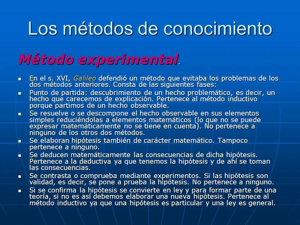 Los métodos de conocimiento Método experimental. En el s. XVI, Galileo defendió un método que evitaba los problemas de los dos métodos anteriores. Con