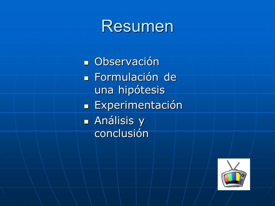 Resumen Observación Observación Formulación de una hipótesis Formulación de una hipótesis Experimentación Experimentación Análisis y conclusión Anális
