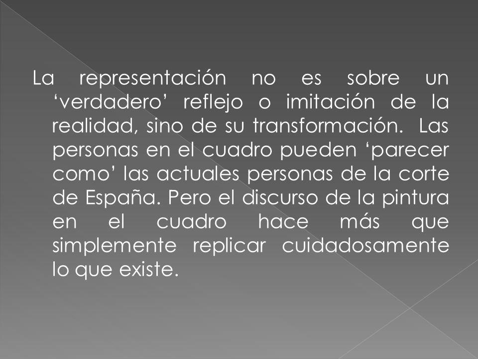 La representación no es sobre un verdadero reflejo o imitación de la realidad, sino de su transformación. Las personas en el cuadro pueden parecer com