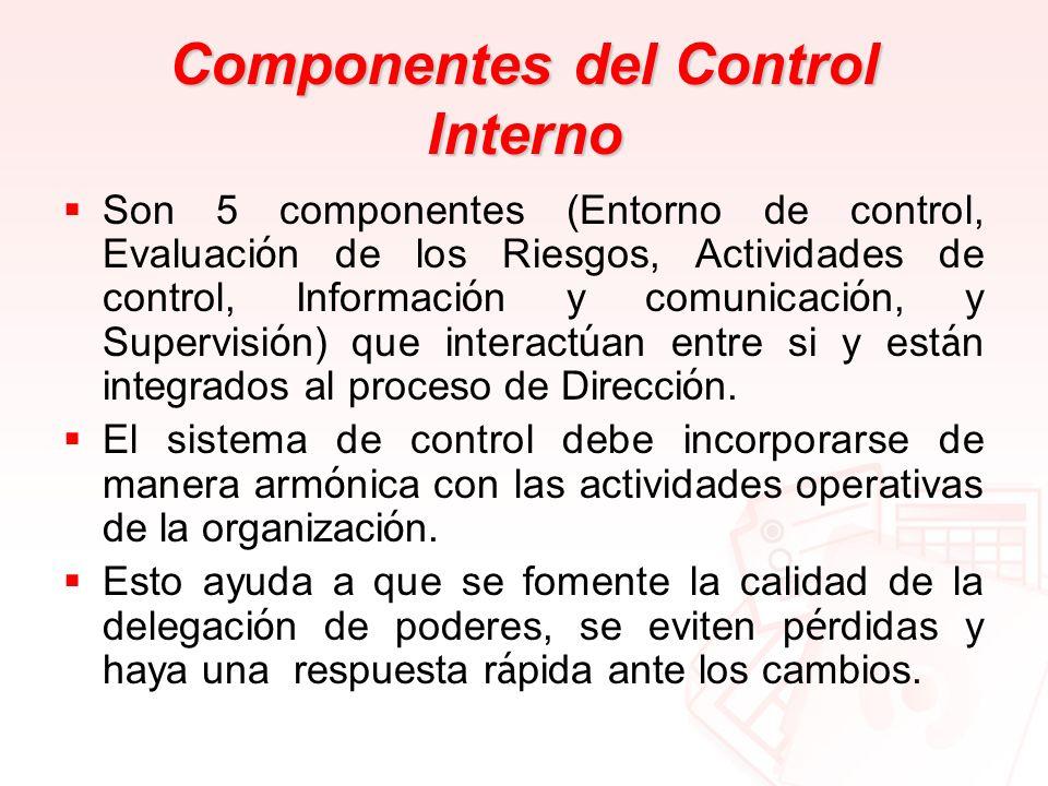 Componentes del Control Interno Son 5 componentes (Entorno de control, Evaluaci ó n de los Riesgos, Actividades de control, Informaci ó n y comunicaci