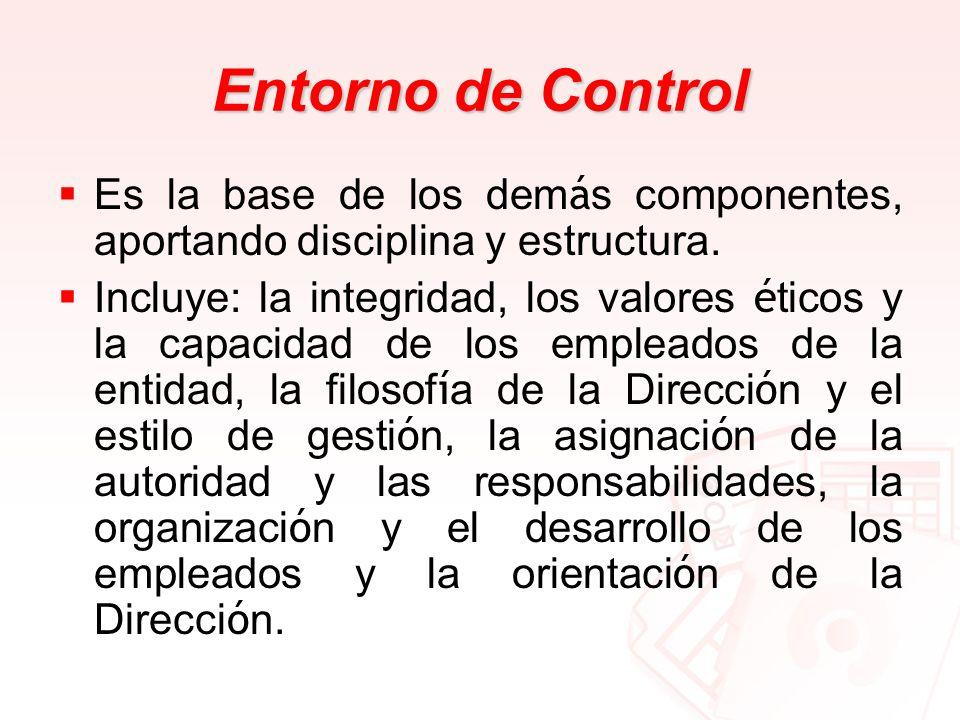 Entorno de Control Es la base de los dem á s componentes, aportando disciplina y estructura. Incluye: la integridad, los valores é ticos y la capacida