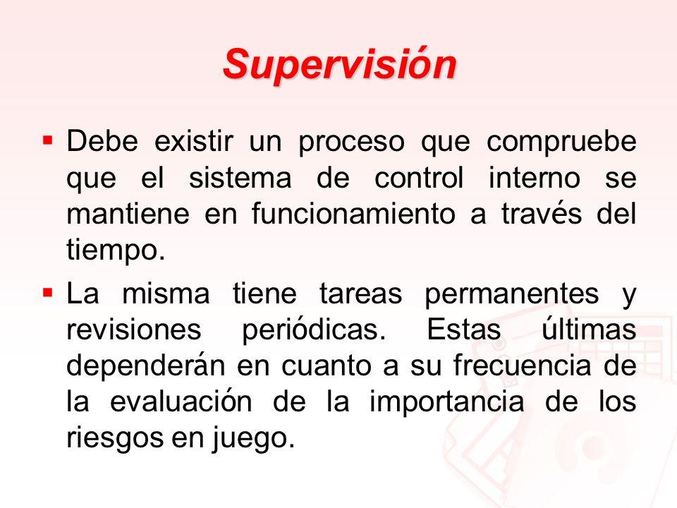 Supervisi ó n Debe existir un proceso que compruebe que el sistema de control interno se mantiene en funcionamiento a trav é s del tiempo. La misma ti
